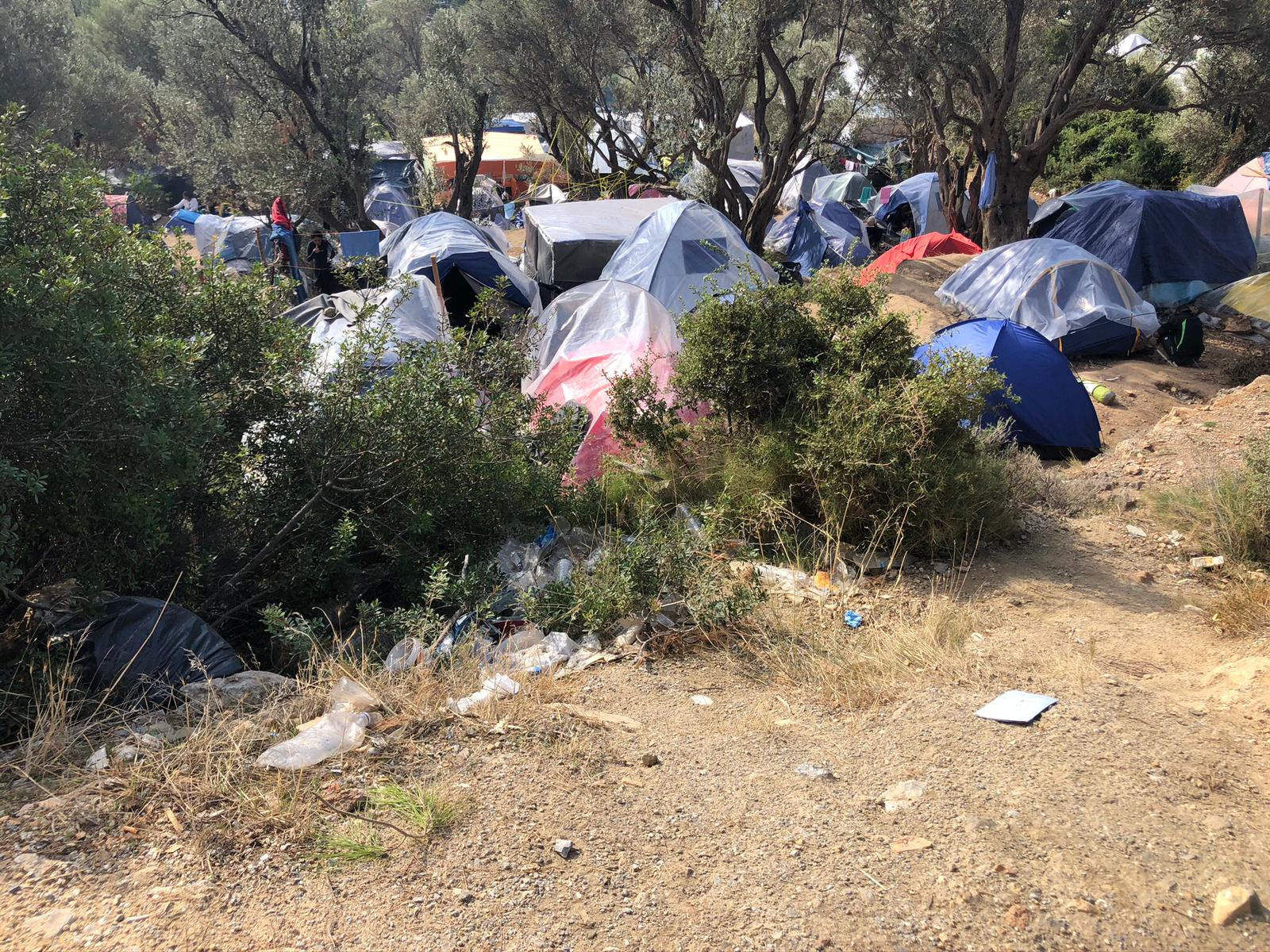 camps in field, outskirts of Greece